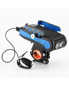 4000mAh LED Luci per bici Luce anteriore per bicicletta con supporto per telefono a clacson Torcia ricaricabile USB